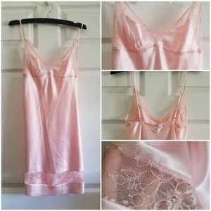 Victoria's Secret pink satin & lace slip NEW